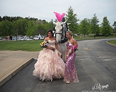 Posing with our Cinderella Carriage at prom in Uniontown OH