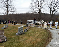 Carriage Limousine Service - Horse Drawn Carriages: Our horse drawn funeral coach during a funeral in Magnolia, OH