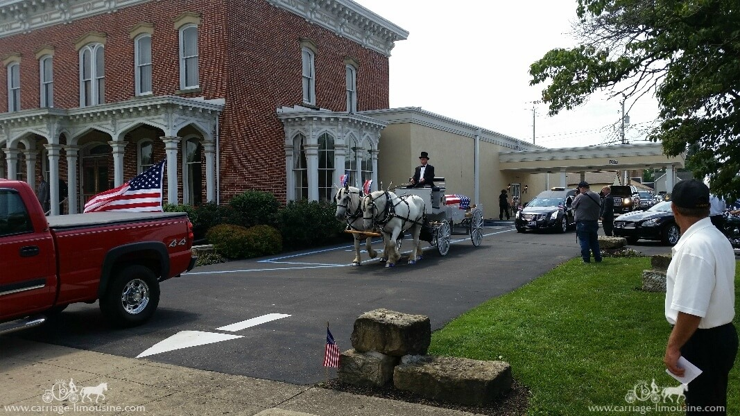 Our one of a kind Caisson Hearse at a funeral in Coshocton, OH