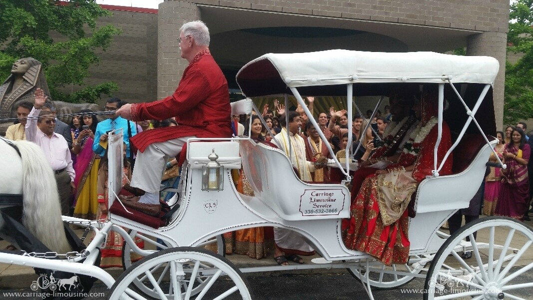 The Bride and Groom exiting their wedding in our Indian Wedding Horse & Carriage in Cheswick, PA
