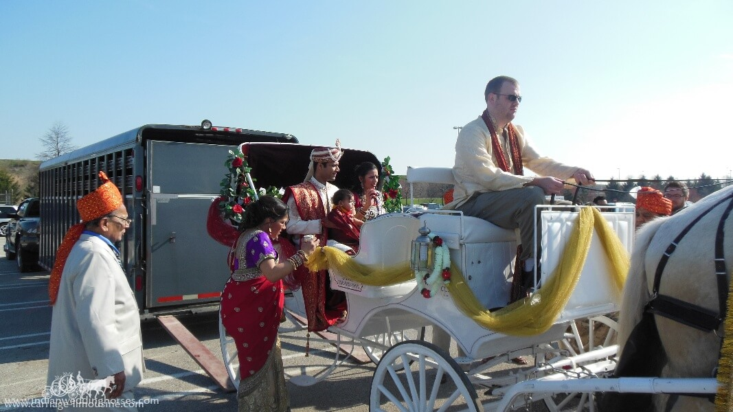 The groom getting ready to head out in our Indian Wedding Carriage at Pittsburgh International Airport