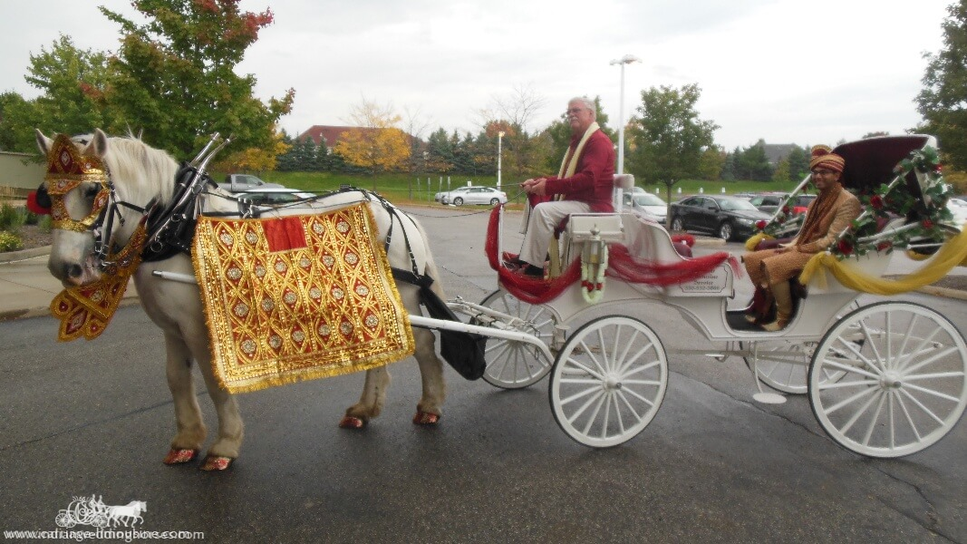 The groom in our Indian Baraat Carriage at La Centre in Westlake, OH