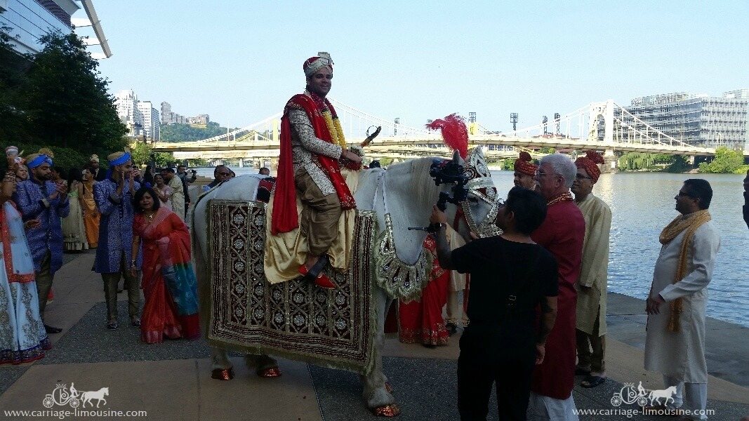 The Groom ready to start the Baraat under the David L Lawrence Convention Center in Pittsburgh PA