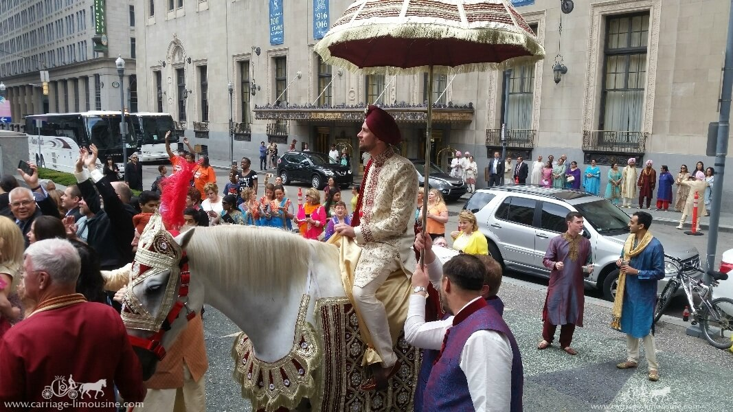 The groom on our Indian Baraat Horse at the Omni in Pittsburgh, PA