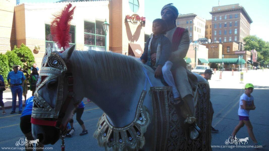 The groom coming in on one of our Indian Wedding Horses at Station Square in Pittsburgh, PA