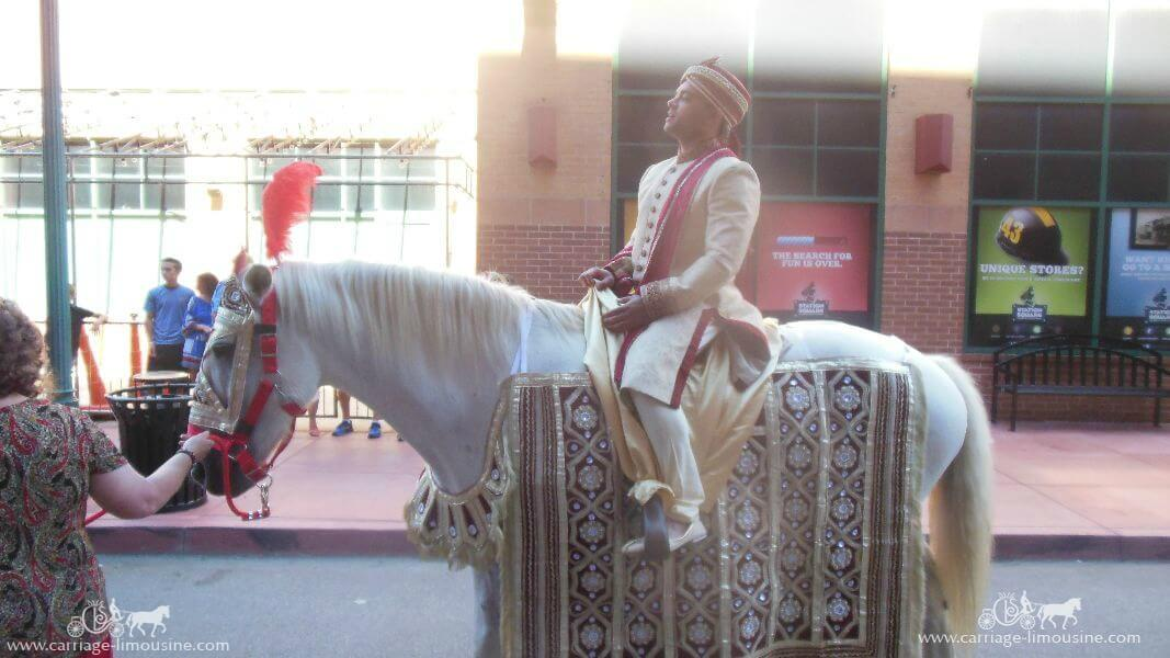 The riding our white Indian Wedding Horse at Station Square in Pittsburgh, PA