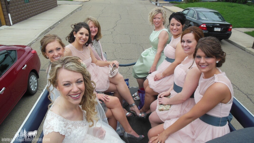 Our Limousine Carriage taking the bride and her bridesmaids to the wedding in Monaca, PA