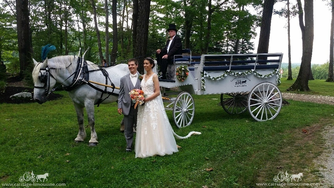 Bride and groom posing with the Limousine carriage at Seven Springs