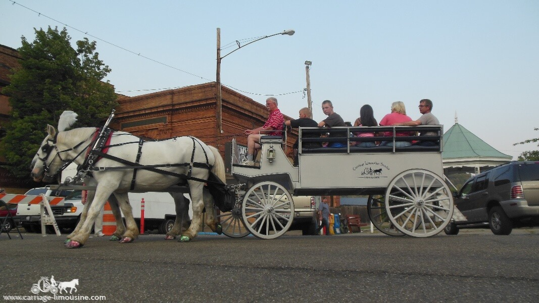 Our Limousine Carriage giving rides during an event in Wellsville, Ohio