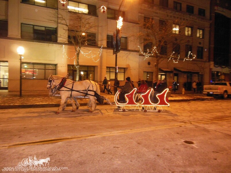 Our Sleigh giving rides during a New Years Eve event in Akron Ohio