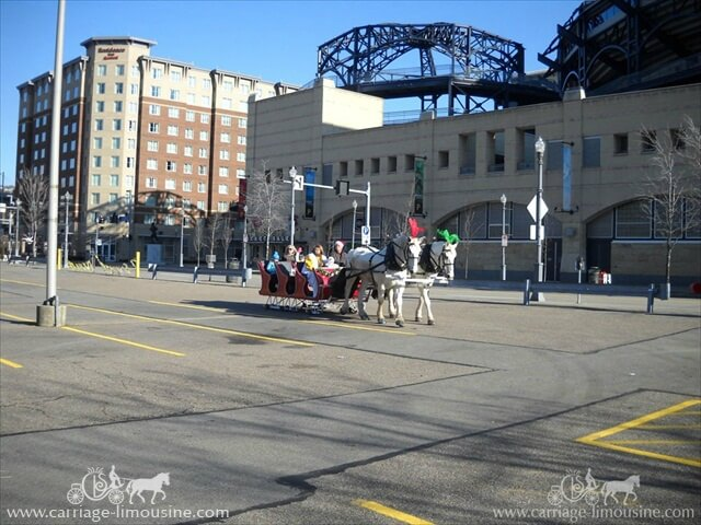 Our Sleigh giving rides next to PNC Park in Pittsburgh PA