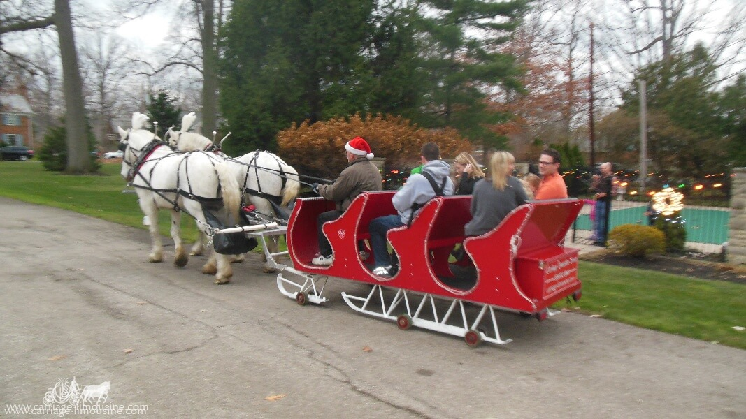 Our Horse Drawn Sleigh giving rides during a holiday event in Rocky River Ohio