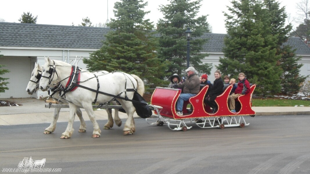 Our Horse Drawn Sleigh giving rides during an event in Rocky River Ohio
