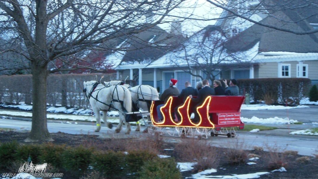 The Sleigh giving rides during a holiday event in Bratenahl Ohio