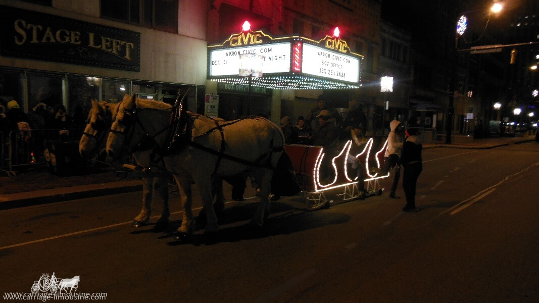 Our Sleigh giving rides during a holiday event in Akron Ohio