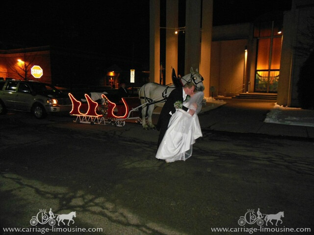 The bride and groom with our Sleigh in Ellwood City PA