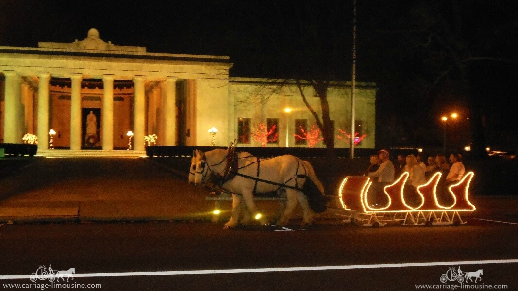 Our Sleigh giving rides during a holiday event in Niles Ohio