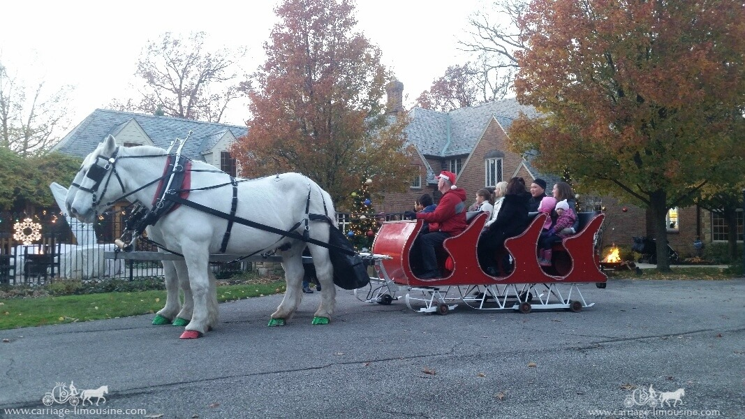 Our Sleigh giving rides during a holiday event in Lakewood Ohio