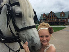 Carriage Limousine Service - Horse Drawn Carriages: Our Percheron Draft horse named Lady pulling our Victorian Carriage at a prom in Euclid Ohio