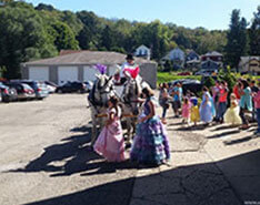 Carriage Limousine Service - Horse Drawn Carriages: Our Percheron Draft horse named May on the left (w/ Lucy)