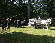 Carriage Limousine Service - Horse Drawn Carriages: Our horse drawn funeral coach filming a movie in Elyria, OH