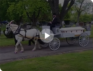 Our Caisson Hearse during a funeral in Coshocton, OH