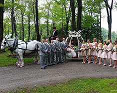 Carriage Limousine Service - Horse Drawn Carriages: Our one of a kind Cinderella carriage after a wedding Sevens Springs Resort in PA