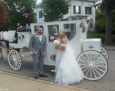 Carriage Limousine Service - Horse Drawn Carriages: Our hand crafted Royal Coach at a wedding in Hudson, OH