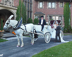 Carriage Limousine Service - Horse Drawn Carriages: Our Victorian carriage at a wedding at Stan Hywet Hall in Akron Ohio